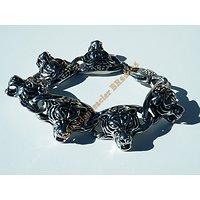Bracelet Rare 21 cm Pur Acier Inoxydable Argent et Noir 6 Tetes Guépard Tigre Jaguar 24 mm