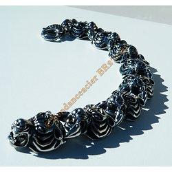 Bracelet Rare 24 cm Pur Acier Inoxydable Argent et Noir 8 Tetes Guépard Tigre Jaguar 20 mm