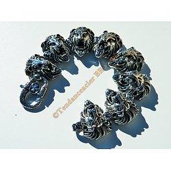 Bracelet Rare 23 cm Pur Acier Inoxydable Argent et Noir 8 Tetes Roi Lion Félin 32 mm