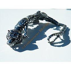 Bracelet Collector Rare 21 cm Pur Acier Inoxydable Argent et Noir Véritable Guépard Tigre Jaguar