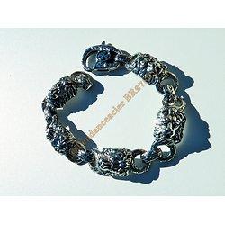 Bracelet Rare 24 cm Pur Acier Inoxydable Argent et Noir 5 Tetes Roi Lion Félin 16 mm