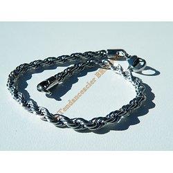 Bracelet Fashion 21 cm Argenté Pur Acier Inoxydable Triple Maille Wire Torsadé 4 mm