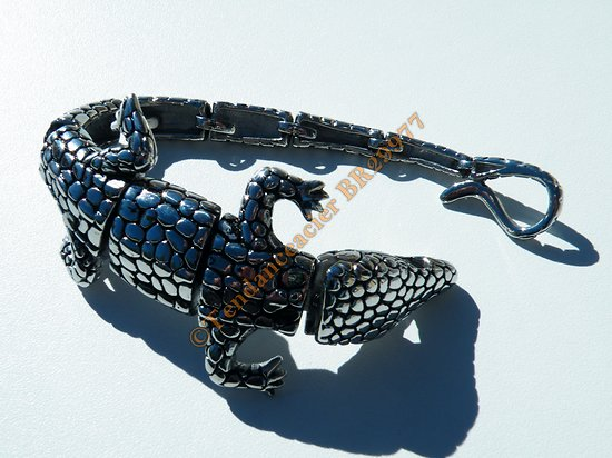Bracelet Collector Rare 23 cm Pur Acier Inoxydable Argent et Noir Véritable Crocodile Caiman