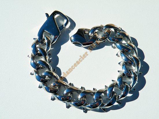 Bracelet Maso 22 cm Pur Acier Inoxydable Argenté Brillant Maille Gourmette Epine 19 mm