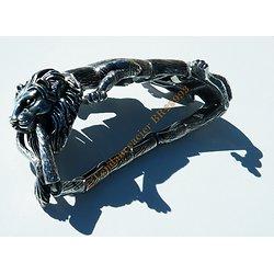 Bracelet Collector Rare 22 cm Pur Acier Inoxydable Argent et Noir Véritable Lion