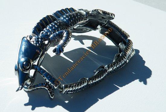 Bracelet Collector Rare 22 cm Pur Acier Inoxydable Argent et Noir Véritable Iguane Saurien