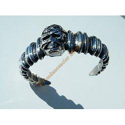 Bracelet Massif Ouvert Momie Tete de Mort Skull Acier Inoxydable 75 g Gothique