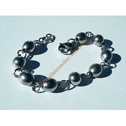 Bracelet Anneaux 3 Boules 6 Olives Ovale 8 mm Pur Acier Inoxydable Argenté