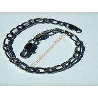 Bracelet Maille 5 mm Figaro 1+1 Argenté Pur Acier Inoxydable  22 cm