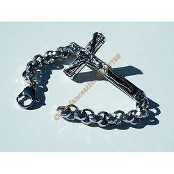 Bracelet Religieux Grand Christ Jésus Sur Croix Maille Jaseron Multi Facette 9 mm Acier Inoxydable