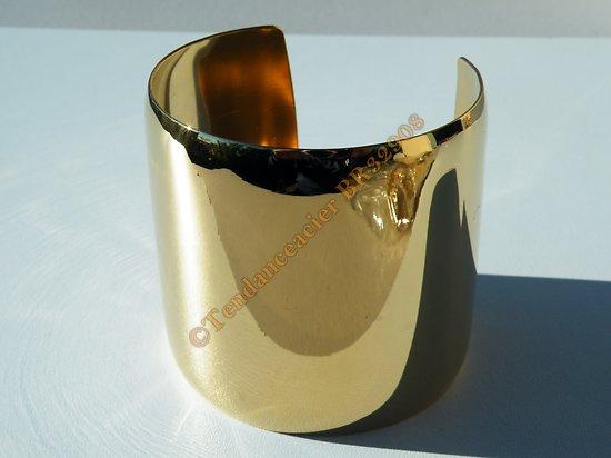 Bracelet Bombé Ouvert Bangle Acier Inoxydable Plaqué Or Vierge Brillant 61 mm Ajustable