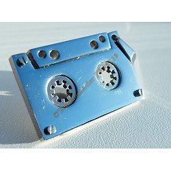 Pendentif Argenté Vintage Cassette K7 Radio Pur Acier Inoxydable + Chaine Kdo