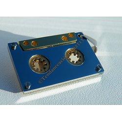 Pendentif Argenté et Or Vintage Cassette K7 Radio Pur Acier Inoxydable + Chaine