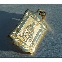 Pendentif Religieux Sainte Vierge Marie Doré Plaqué Or Pur Acier Inoxydable + Chaine