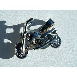 Pendentif Motard Moto Harley Davidson Argenté 30 mm Pur Acier Inoxydable + Chaine