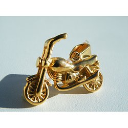 Pendentif Motard Moto Harley Davidson Doré Plaqué Or 30 mm Pur Acier Inoxydable + Chaine