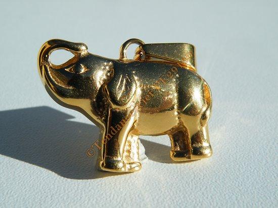 Pendentif Elephant Trompe en L'air Plaqué Or 30 mm Pur Acier Inoxydable + Chaine
