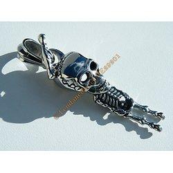 Pendentif Argenté Skull Grand Squelette Pendu Gothique 73 mm Pur Acier Inoxydable + Chaine