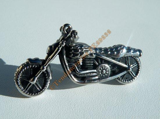 Pendentif Motard Moto Dragster Argenté 46 mm Pur Acier Inoxydable + Chaine