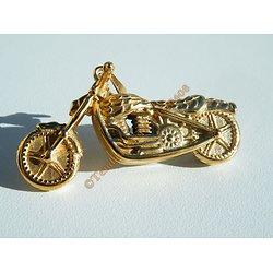 Pendentif Motard Moto Dragster Doré Plaqué Or 46 mm Pur Acier Inoxydable + Chaine