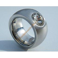 Bague Chevaliére Argenté 14 mm Pur Acier Inoxydable Strass Diamant 11 mm Rare