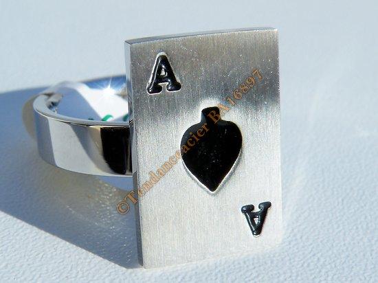 Bague Pur Acier Inoxydable Sertie Carte Poker As De Pique Argenté Noir 21 mm