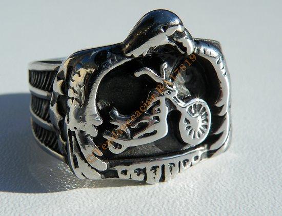 Bague Chevaliere Pur Acier Inoxydable Argenté Moto Harley Davidson HD Aigle Us Biker