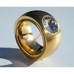 Bague Chevaliére Doré Plaqué Or 14 mm Pur Acier Inoxydable Strass Diamant 11 mm Rare