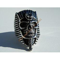 Bague Chevaliere 40mm Acier Inoxydable Argent Tete de Mort Skull Pharaon Serpent