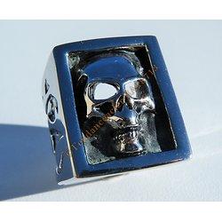 Bague Chevaliere Carré 27 mm Acier Inoxydable Argenté Tete de Mort Skull Gothique