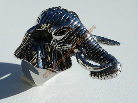 Bague Chevaliere Argentée Pur Acier Inoxydable Tete Animal Elephant 3 Dimensions Rare