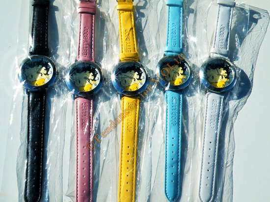 LOT 5 MONTRES BETTY BOOP CADRAN ROND GLAMOUR FEMME FILLE PIN UP MULTICOLORE
