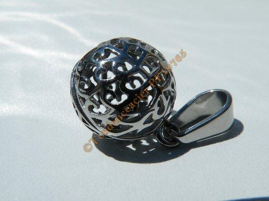 Pendentif Pur Acier Inoxydable Type Boule Bolo Argenté 15 mm Femme Enceinte Chaine Cadeau