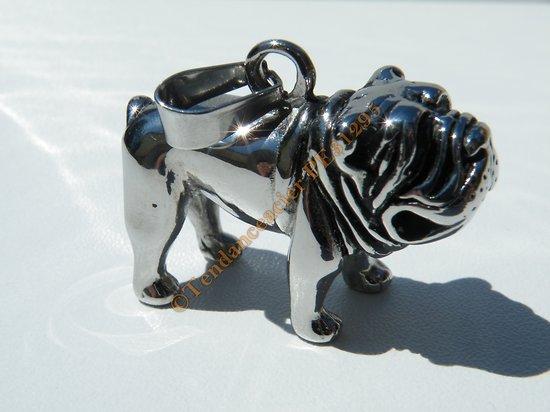 Pendentif Chien 3D Dog Pitbull Bulldog 35mm Argenté Pur Acier Inoxydable + Chaine