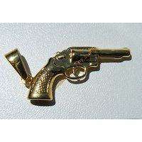 Pendentif Arme Pistolet Colt Revolver Doré Plaqué Or Pur Acier Inoxydable + Chaine