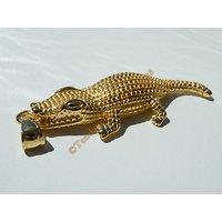 Pendentif Crocodile Caiman Doré Plaqué Or Pur Acier Inoxydable + Chaine