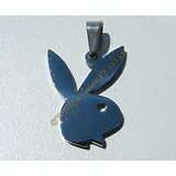 Pendentif Lapin Coquin Play Boy Sexy Argenté Pur Acier Inoxydable + Chaine Offerte