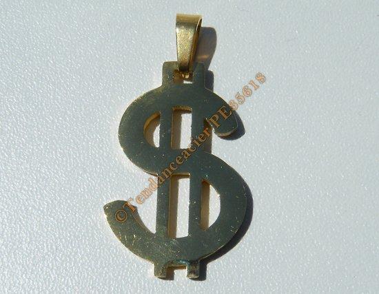Pendentif Bling Bling Dollars $ Rappeur DJ Doré Plaqué Or Pur Acier Inoxydable Rap + Chaine