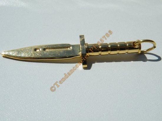 Pendentif Poignard Couteau Dague Arme Doré Plaqué Or Pur Acier Inoxydable + Chaine Offerte
