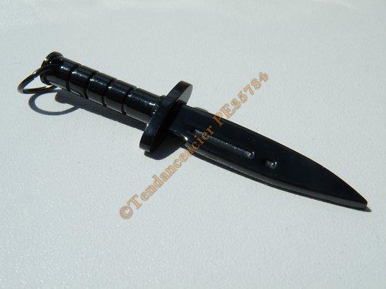 Pendentif Poignard Couteau Dague Arme Noir Black Pur Acier Inoxydable + Chaine Offerte