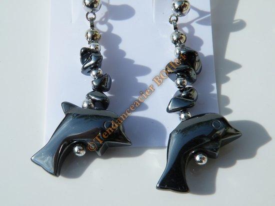 boucles d'oreilles pendantes dauphin