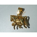 Pendentif Cheval 3D 14 Strass Zirconium Equitation Doré Plaqué Or Pur Acier Inoxydable + Chaine