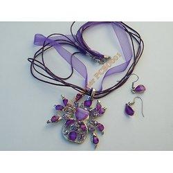 Parure Collier Araignée Veuve Noire Violet + Paire Boucles d'Oreilles  Gouttes Violette Tissu