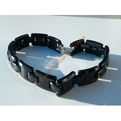 Bracelet 100% Pur Céramique Noire 21 cm  Multi Boule Aimanté Interieure Magnétothérapie