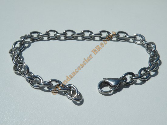 Bracelet Maille Forçat Ovale 6 mm Pur Acier Inoxydable Chirurgical Argenté 20 cm