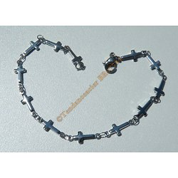 Bracelet Maille Croix Religion 10 mm Pur Acier Inoxydable Argenté 19 cm Priére