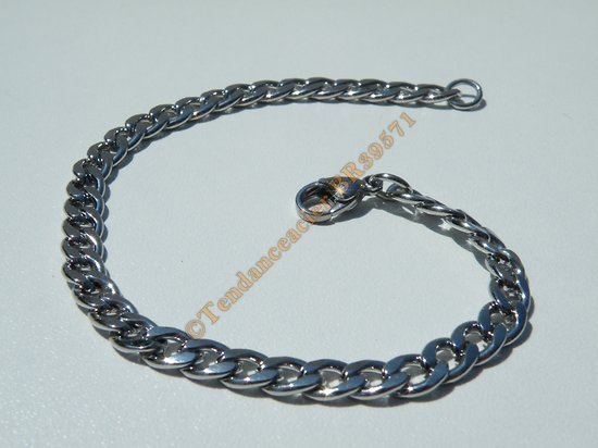 Bracelet Maille Gourmette 5 mm Pur Acier Inoxydable Chirurgical Argenté 20 cm