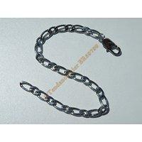 Bracelet Maille 5 mm Figaro 1+1 Pur Acier Chirurgical Inoxydable Argenté 20 cm