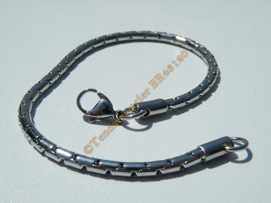 Bracelet Serpentine Fine 2,9 mm  Pur Acier Inoxydable Chirurgical Argenté 19 cm
