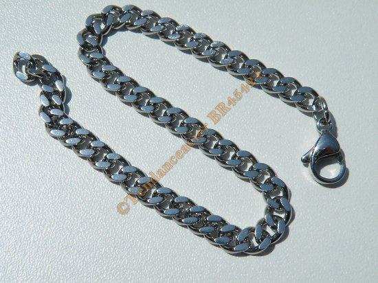 Bracelet Maille Gourmette Plate 5 mm Pur Acier Inoxydable Chirurgical Argenté 20 cm